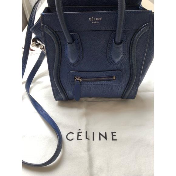 383bcd0cf95d Celine Handbags - Celine nano luggage Indigo pebbled leather